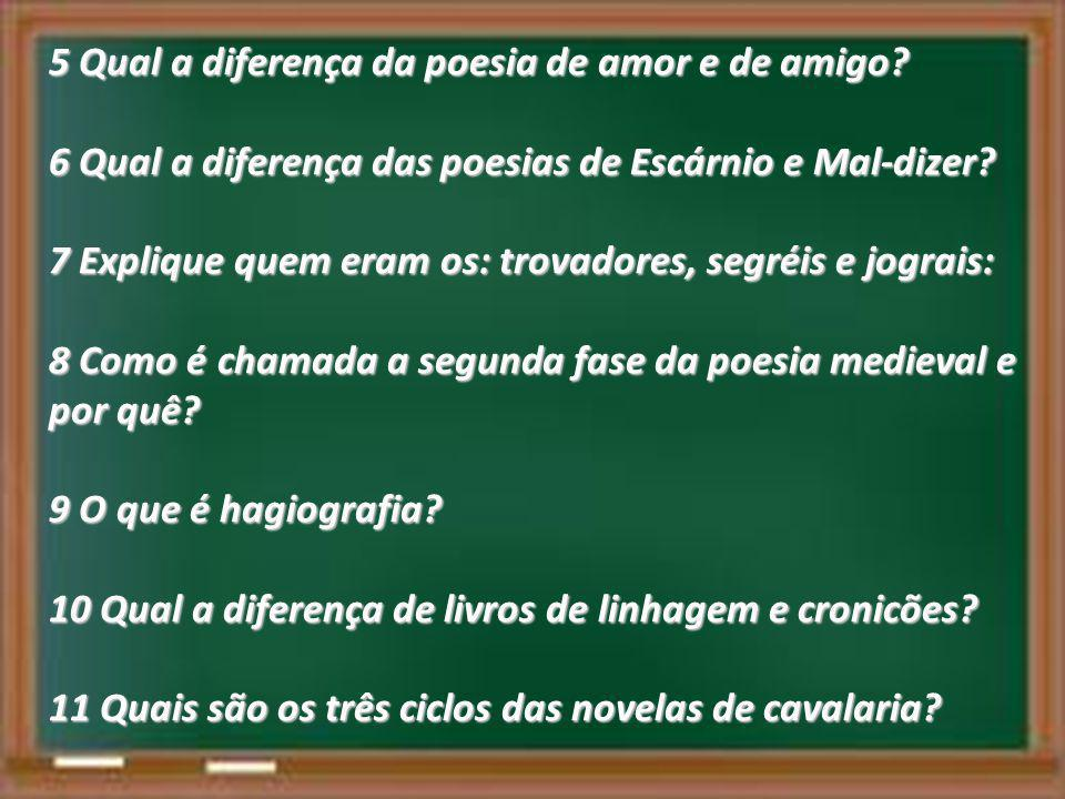 5 Qual a diferença da poesia de amor e de amigo? 6 Qual a diferença das poesias de Escárnio e Mal-dizer? 7 Explique quem eram os: trovadores, segréis