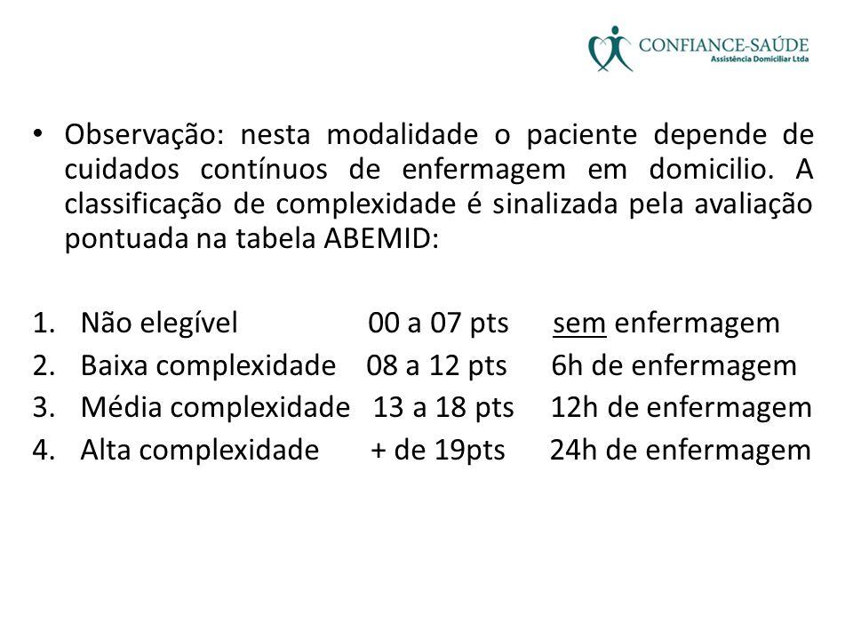 • Observação: nesta modalidade o paciente depende de cuidados contínuos de enfermagem em domicilio. A classificação de complexidade é sinalizada pela