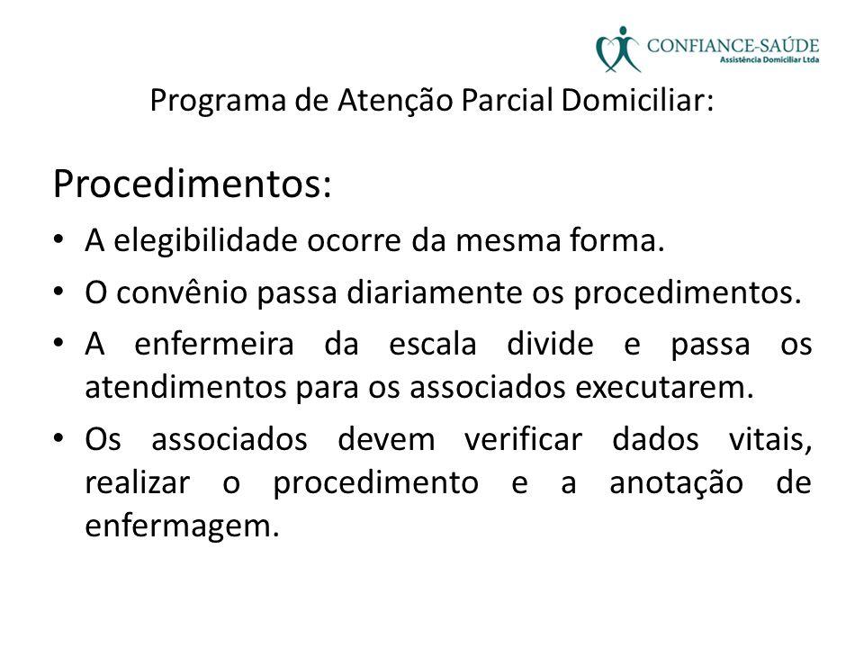 Programa de Atenção Parcial Domiciliar: Procedimentos: • A elegibilidade ocorre da mesma forma. • O convênio passa diariamente os procedimentos. • A e
