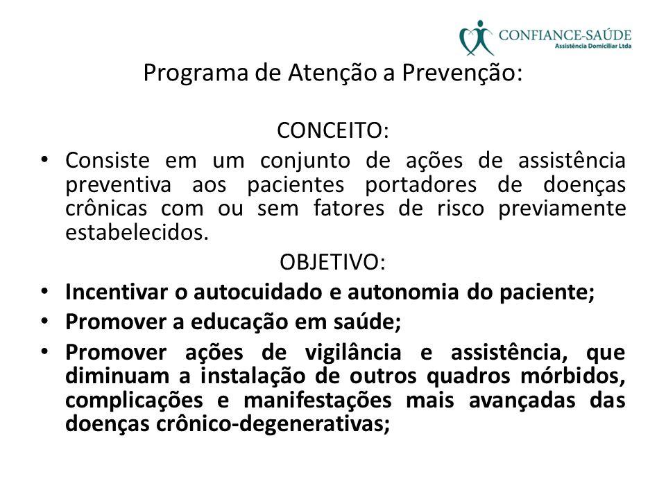 Programa de Atenção a Prevenção: CONCEITO: • Consiste em um conjunto de ações de assistência preventiva aos pacientes portadores de doenças crônicas c