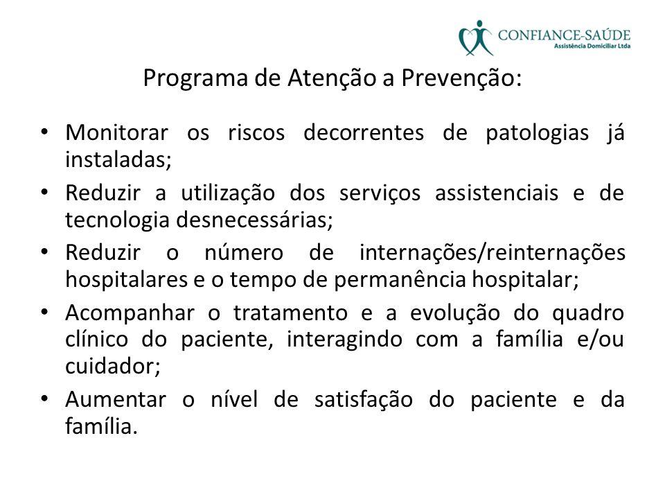 Programa de Atenção a Prevenção: • Monitorar os riscos decorrentes de patologias já instaladas; • Reduzir a utilização dos serviços assistenciais e de