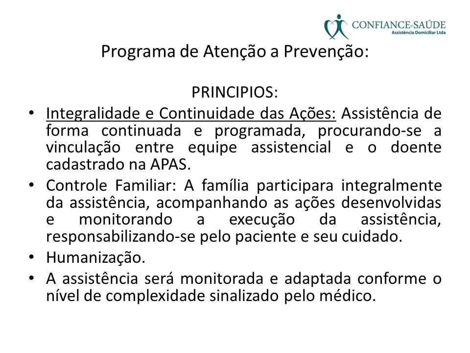 Programa de Atenção a Prevenção: PRINCIPIOS: • Integralidade e Continuidade das Ações: Assistência de forma continuada e programada, procurando-se a v