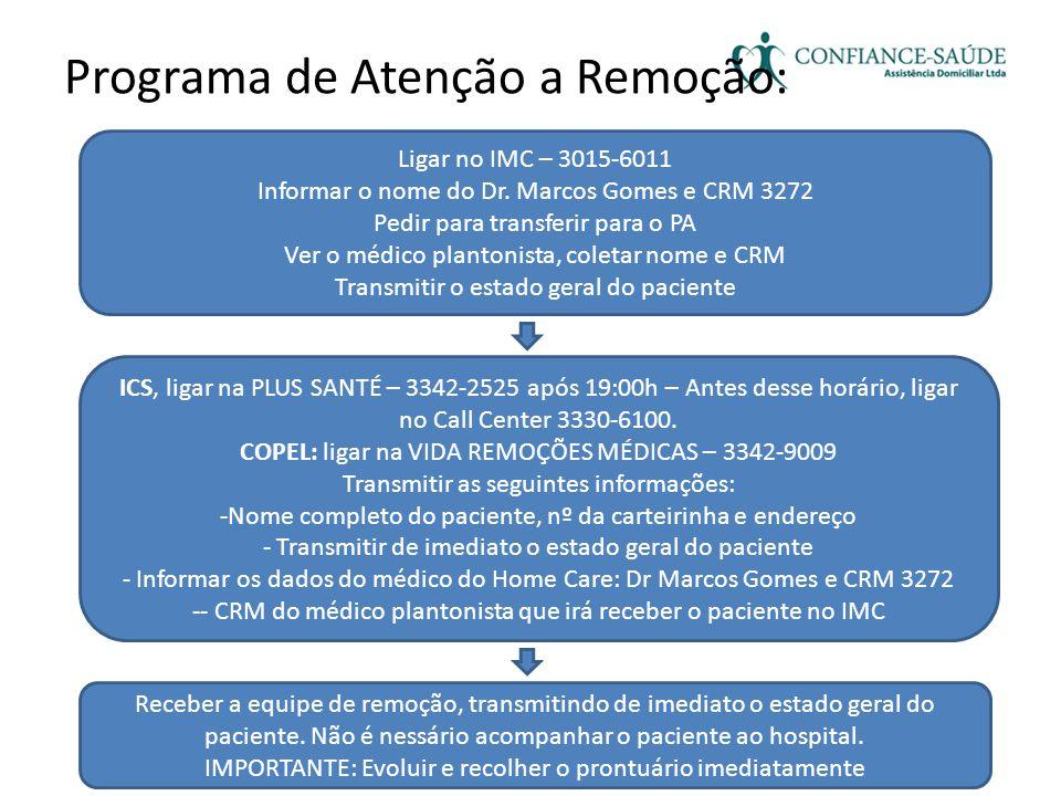 Programa de Atenção a Remoção: Ligar no IMC – 3015-6011 Informar o nome do Dr. Marcos Gomes e CRM 3272 Pedir para transferir para o PA Ver o médico pl
