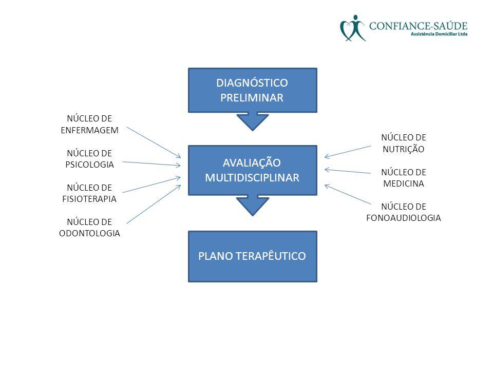 DIAGNÓSTICO PRELIMINAR AVALIAÇÃO MULTIDISCIPLINAR PLANO TERAPÊUTICO NÚCLEO DE ENFERMAGEM NÚCLEO DE PSICOLOGIA NÚCLEO DE FISIOTERAPIA NÚCLEO DE ODONTOL