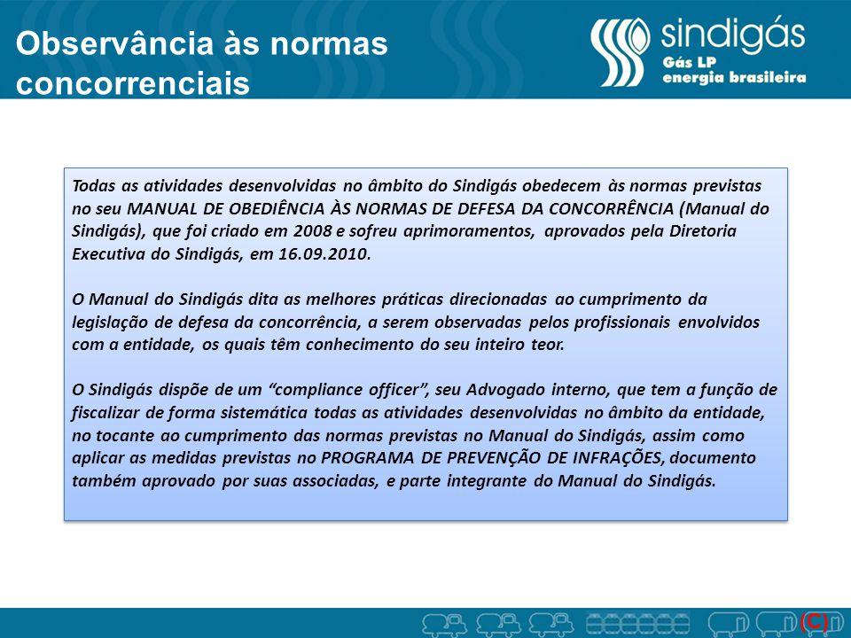 Observância às normas concorrenciais (C) Todas as atividades desenvolvidas no âmbito do Sindigás obedecem às normas previstas no seu MANUAL DE OBEDIÊN