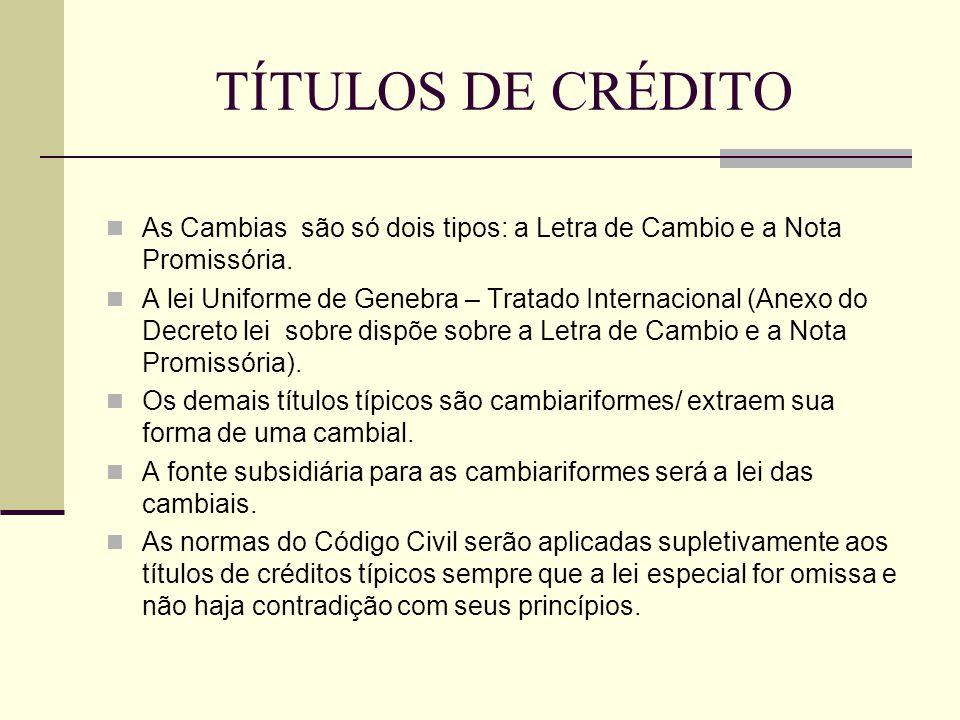 TÍTULOS DE CRÉDITO  As Cambias são só dois tipos: a Letra de Cambio e a Nota Promissória.  A lei Uniforme de Genebra – Tratado Internacional (Anexo