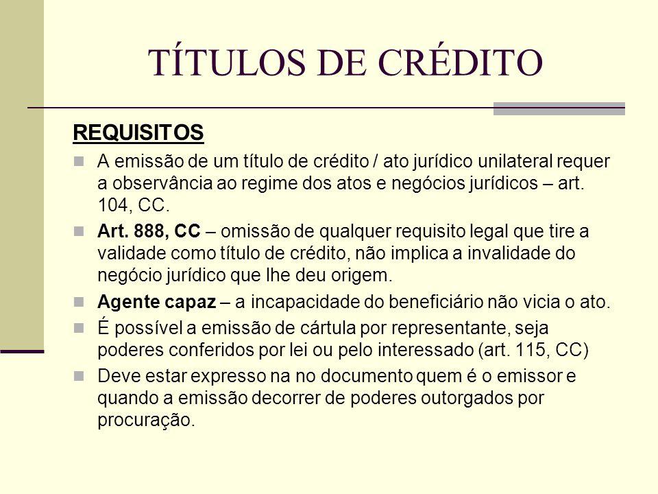 TÍTULOS DE CRÉDITO REQUISITOS  A emissão de um título de crédito / ato jurídico unilateral requer a observância ao regime dos atos e negócios jurídic