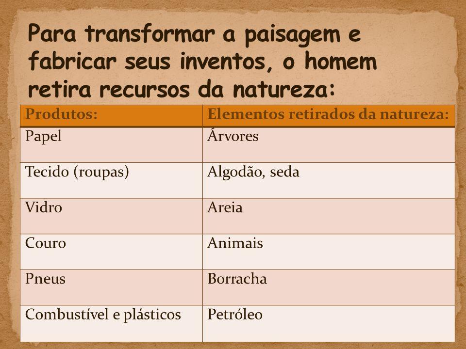Produtos:Elementos retirados da natureza: Papel Árvores Tecido (roupas)Algodão, seda VidroAreia CouroAnimais PneusBorracha Combustível e plásticosPetróleo