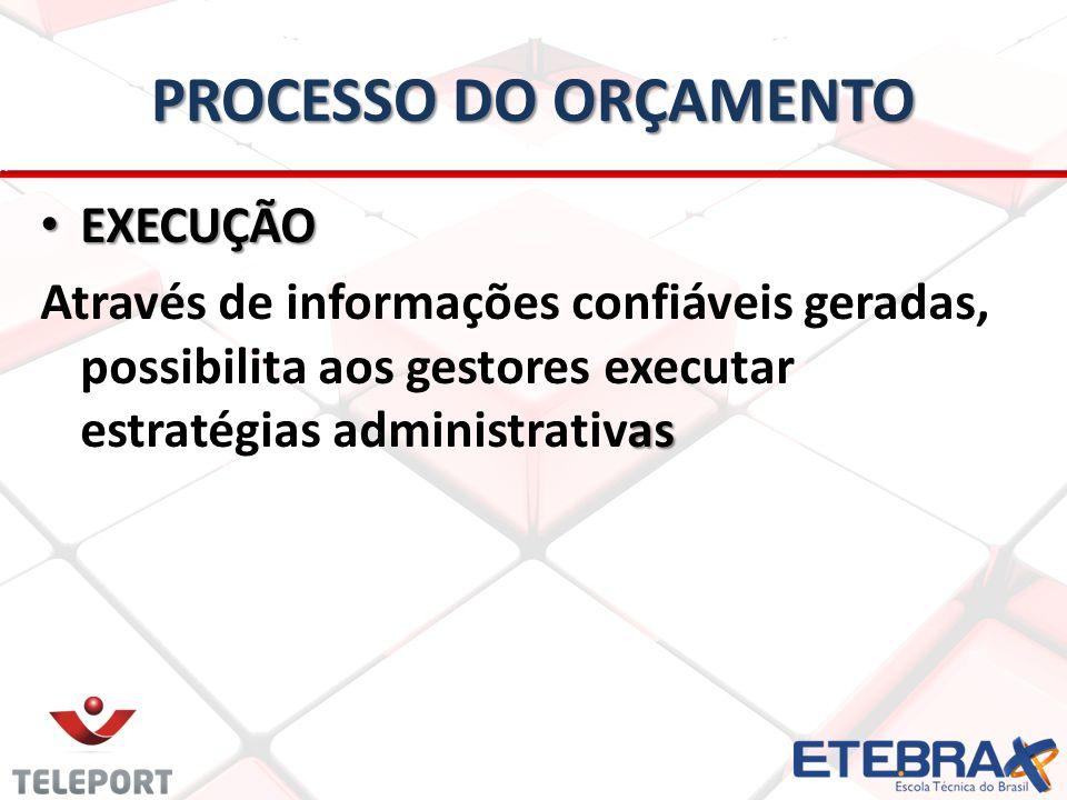 PROCESSO DO ORÇAMENTO • EXECUÇÃO as Através de informações confiáveis geradas, possibilita aos gestores executar estratégias administrativas