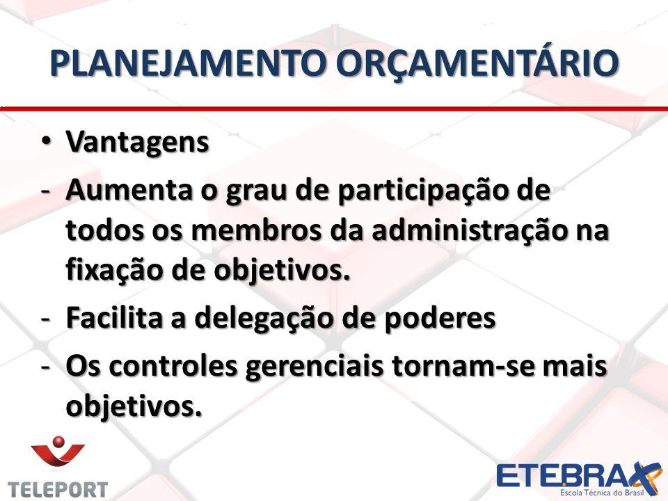 PLANEJAMENTO ORÇAMENTÁRIO • Vantagens -Aumenta o grau de participação de todos os membros da administração na fixação de objetivos. -Facilita a delega