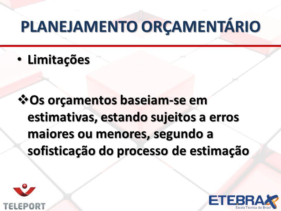 PLANEJAMENTO ORÇAMENTÁRIO • Limitações  Os orçamentos baseiam-se em estimativas, estando sujeitos a erros maiores ou menores, segundo a sofisticação do processo de estimação