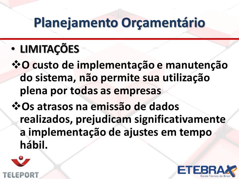 Planejamento Orçamentário • LIMITAÇÕES   O custo de implementação e manutenção do sistema, não permite sua utilização plena por todas as empresas 