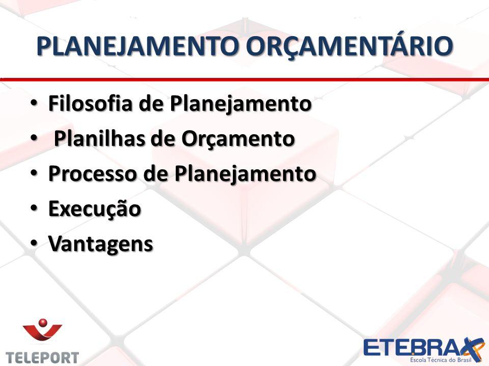 PLANEJAMENTO ORÇAMENTÁRIO • Filosofia de Planejamento • Planilhas de Orçamento • Processo de Planejamento • Execução • Vantagens