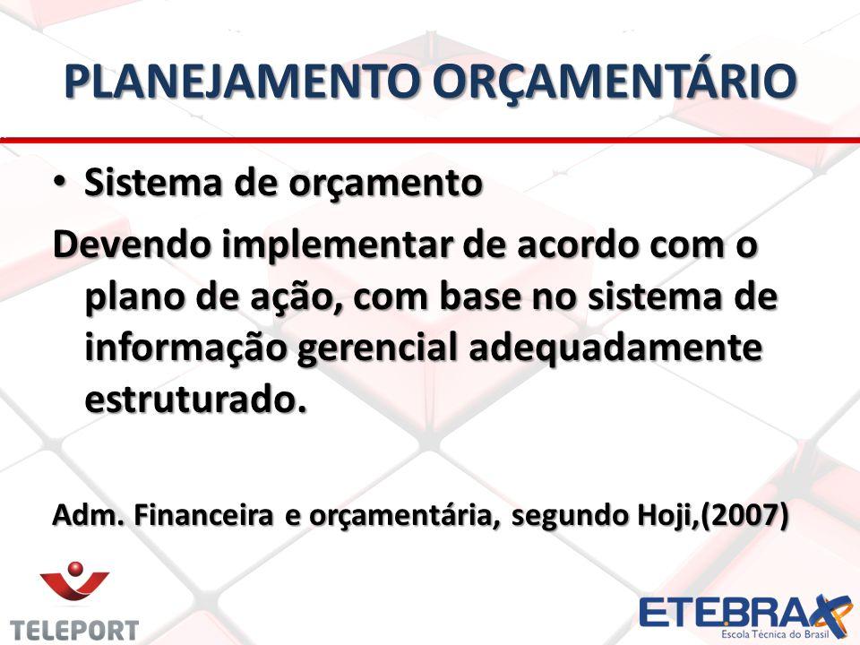 PLANEJAMENTO ORÇAMENTÁRIO • Sistema de orçamento Devendo implementar de acordo com o plano de ação, com base no sistema de informação gerencial adequadamente estruturado.