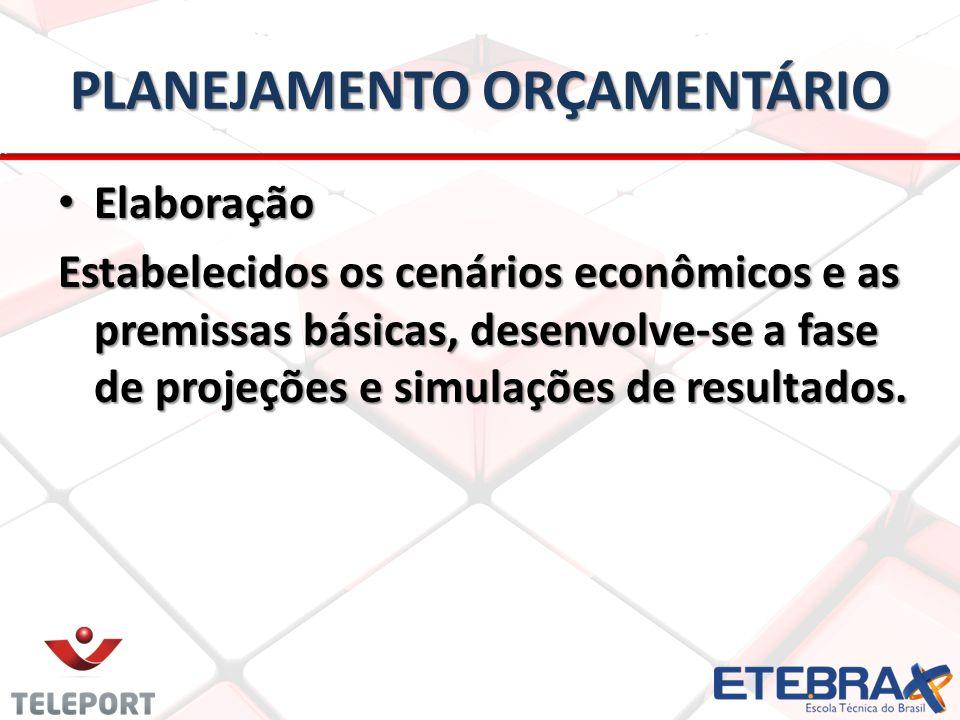PLANEJAMENTO ORÇAMENTÁRIO • Elaboração Estabelecidos os cenários econômicos e as premissas básicas, desenvolve-se a fase de projeções e simulações de resultados.