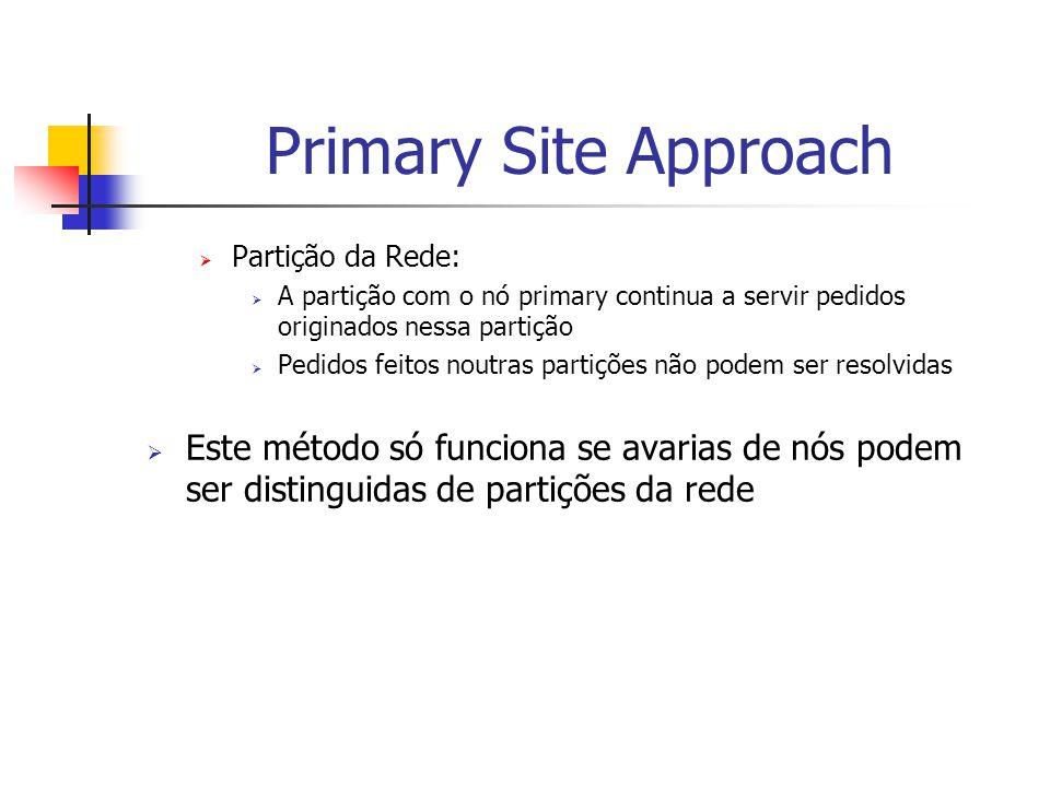 Primary Site Approach  Partição da Rede:  A partição com o nó primary continua a servir pedidos originados nessa partição  Pedidos feitos noutras partições não podem ser resolvidas  Este método só funciona se avarias de nós podem ser distinguidas de partições da rede