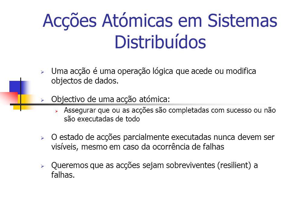 Acções Atómicas em Sistemas Distribuídos  Uma acção é uma operação lógica que acede ou modifica objectos de dados.