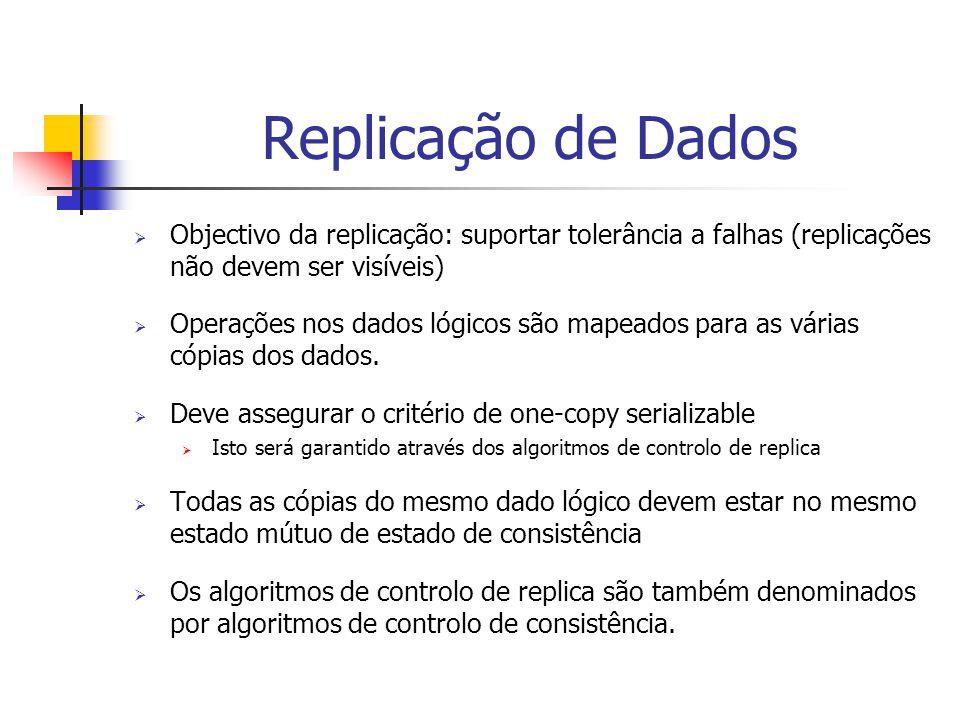 Replicação de Dados  Objectivo da replicação: suportar tolerância a falhas (replicações não devem ser visíveis)  Operações nos dados lógicos são mapeados para as várias cópias dos dados.