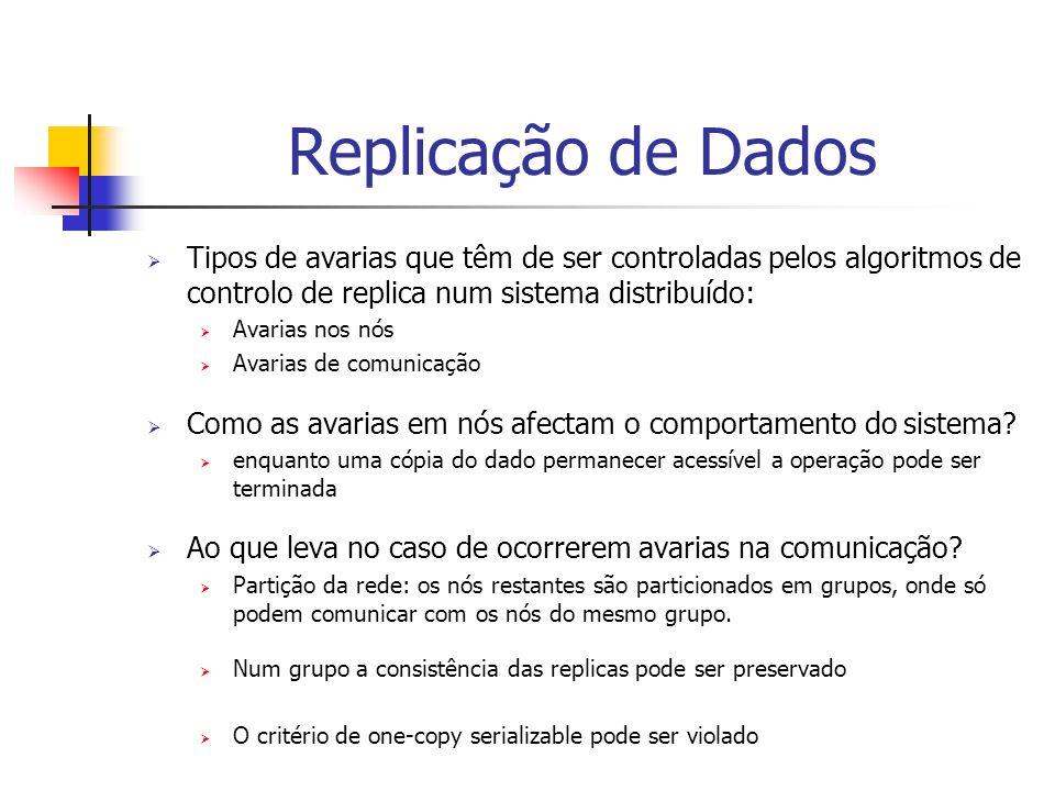 Replicação de Dados  Tipos de avarias que têm de ser controladas pelos algoritmos de controlo de replica num sistema distribuído:  Avarias nos nós  Avarias de comunicação  Como as avarias em nós afectam o comportamento do sistema.