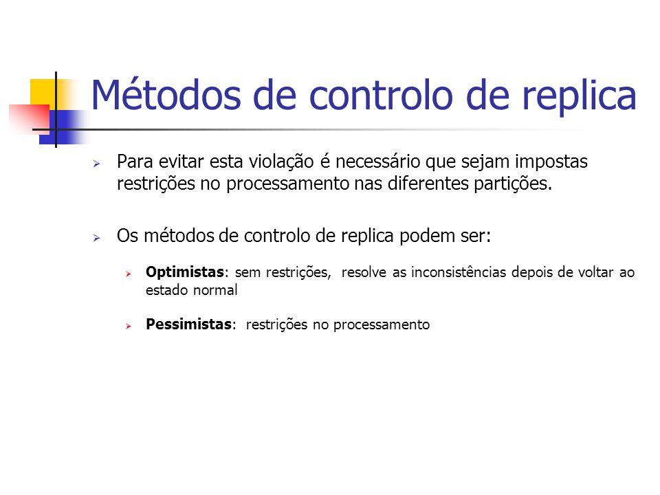 Métodos de controlo de replica  Para evitar esta violação é necessário que sejam impostas restrições no processamento nas diferentes partições.