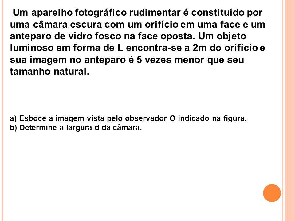 Um aparelho fotográfico rudimentar é constituído por uma câmara escura com um orifício em uma face e um anteparo de vidro fosco na face oposta. Um obj