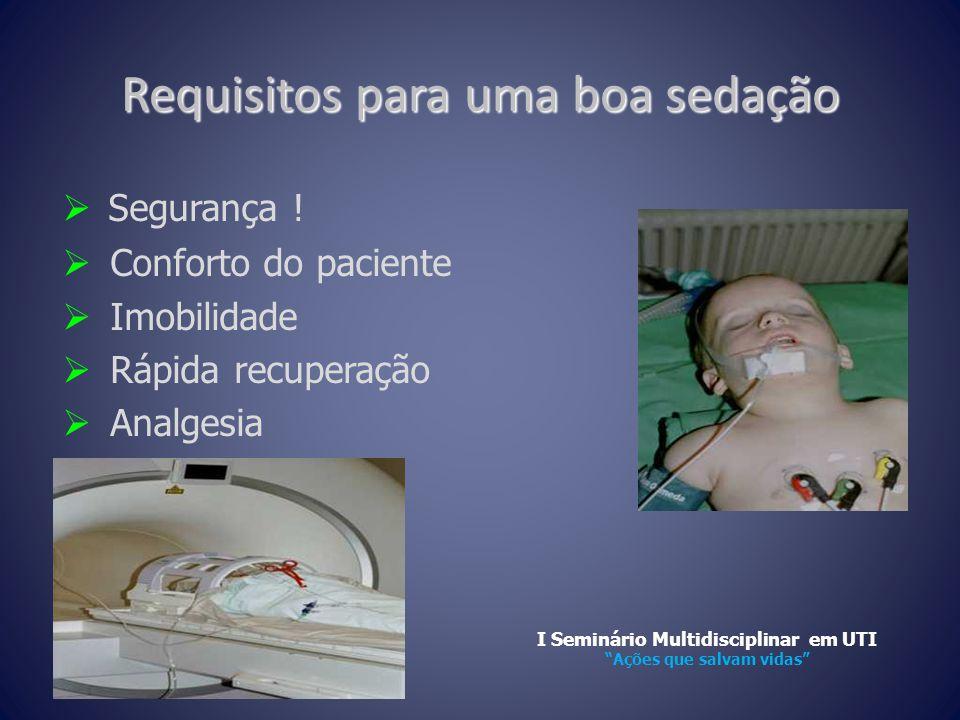 Requisitos para uma boa sedação  Segurança !  Conforto do paciente  Imobilidade  Rápida recuperação  Analgesia I Seminário Multidisciplinar em UT
