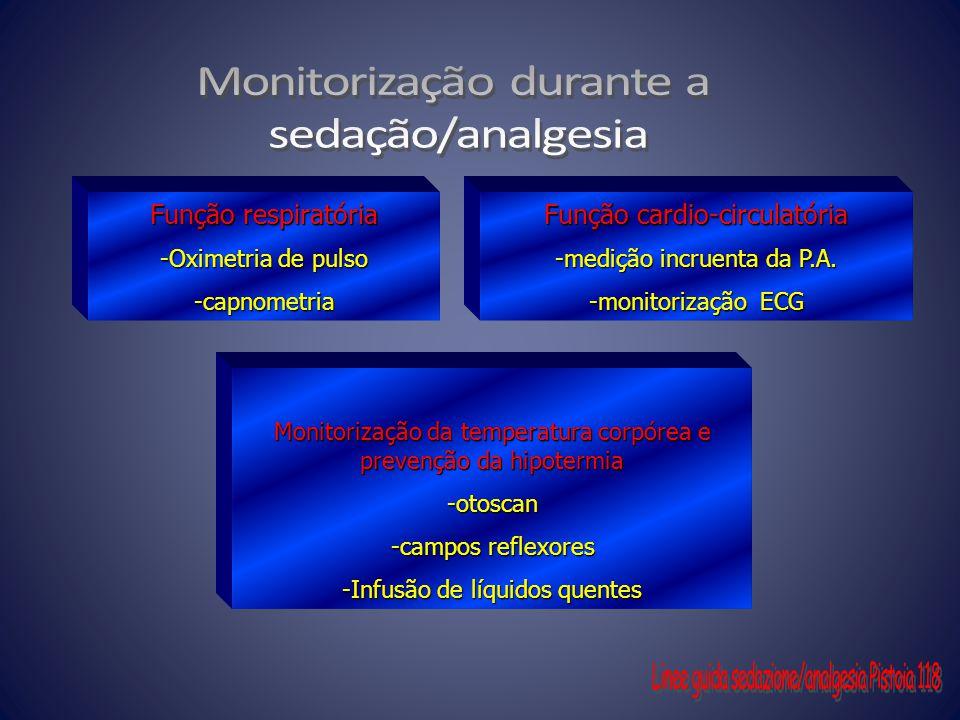 Função respiratória -Oximetria de pulso -capnometria Função cardio-circulatória -medição incruenta da P.A. -monitorização ECG Monitorização da tempera