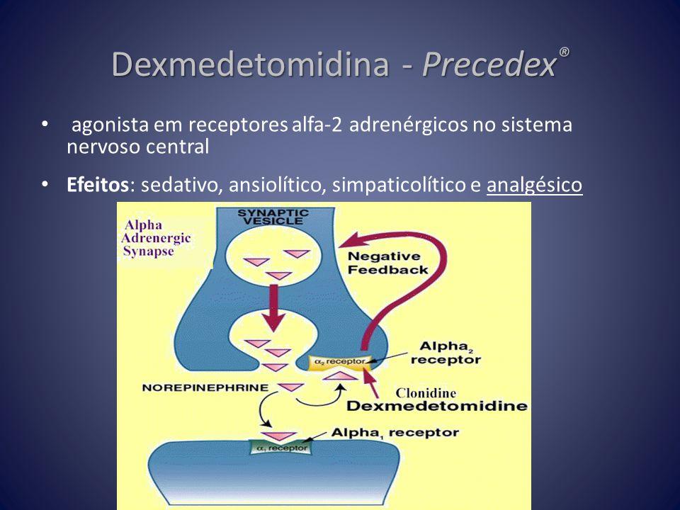 Dexmedetomidina - Precedex ® • agonista em receptores alfa-2 adrenérgicos no sistema nervoso central • Efeitos: sedativo, ansiolítico, simpaticolítico
