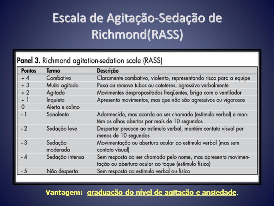 Escala de Agitação-Sedação de Richmond(RASS) Vantagem: graduação do nível de agitação e ansiedade.