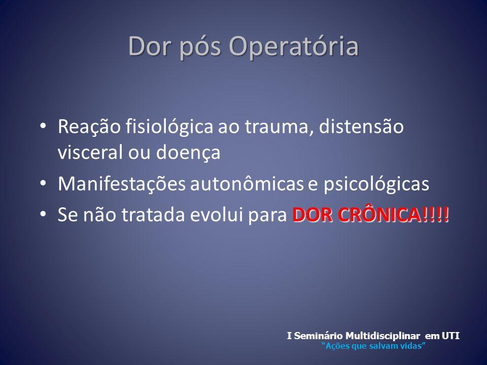Dor pós Operatória • Reação fisiológica ao trauma, distensão visceral ou doença • Manifestações autonômicas e psicológicas DOR CRÔNICA!!!! • Se não tr
