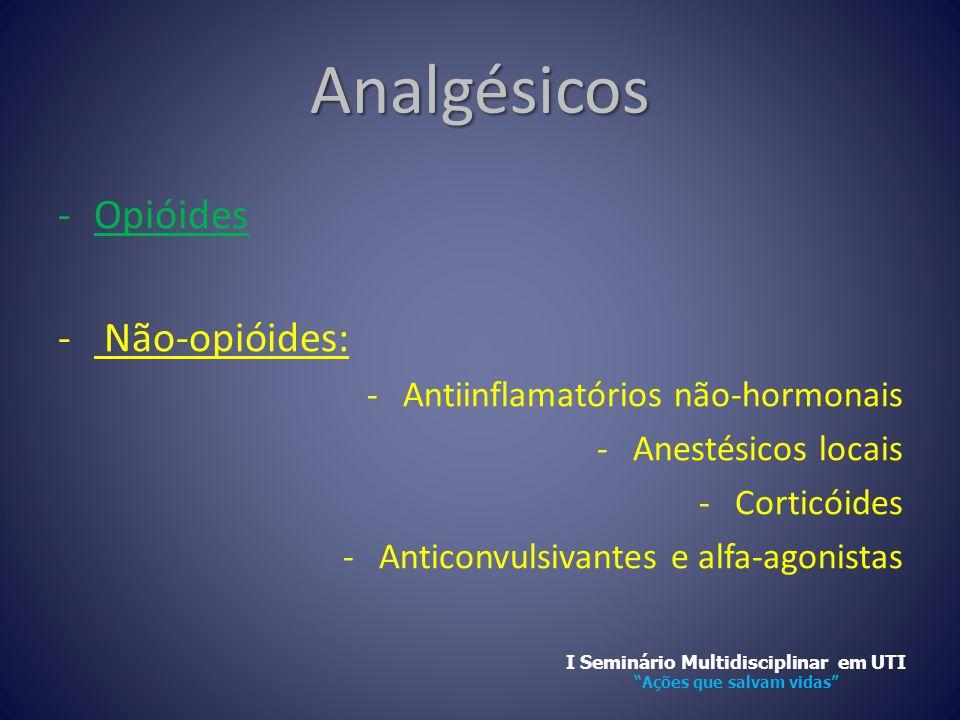 Analgésicos -Opióides - Não-opióides: -Antiinflamatórios não-hormonais -Anestésicos locais -Corticóides -Anticonvulsivantes e alfa-agonistas I Seminár