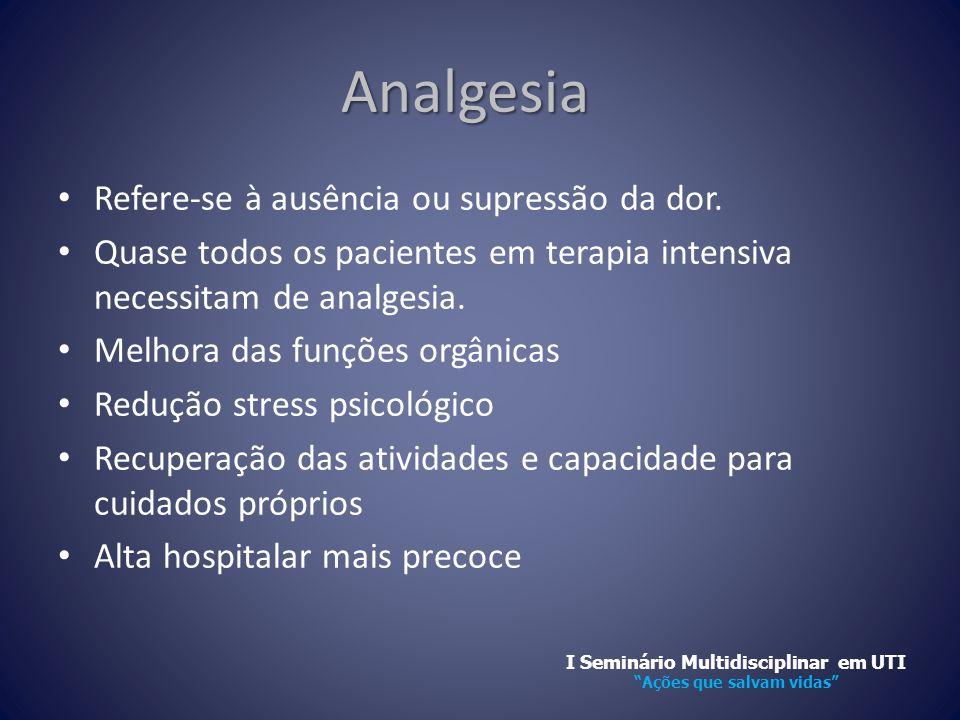 Analgesia • Refere-se à ausência ou supressão da dor. • Quase todos os pacientes em terapia intensiva necessitam de analgesia. • Melhora das funções o