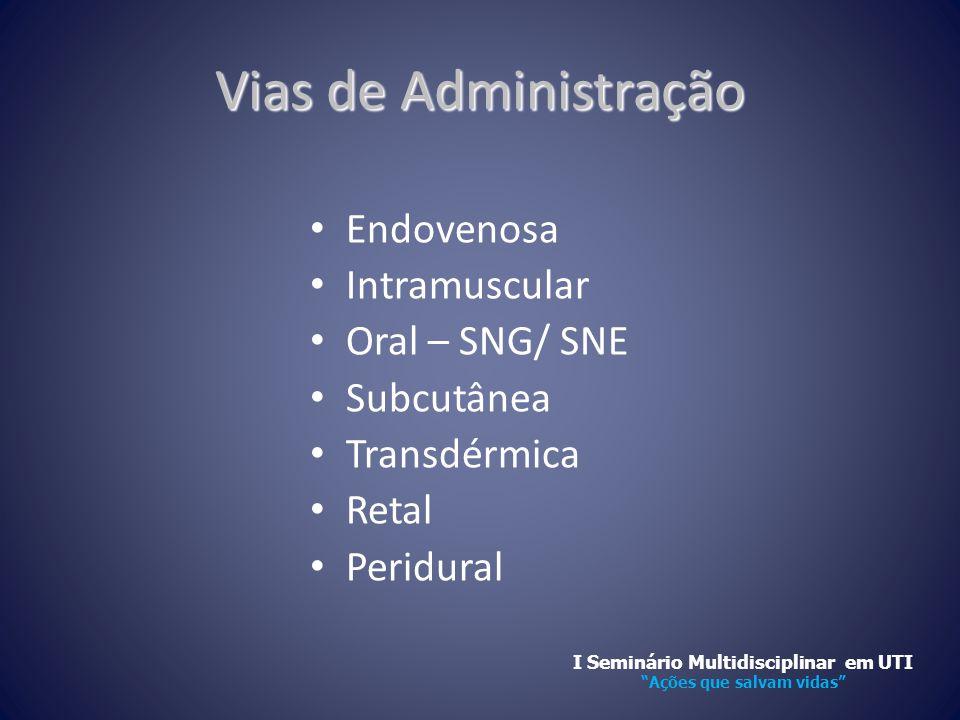 Vias de Administração • Endovenosa • Intramuscular • Oral – SNG/ SNE • Subcutânea • Transdérmica • Retal • Peridural I Seminário Multidisciplinar em U