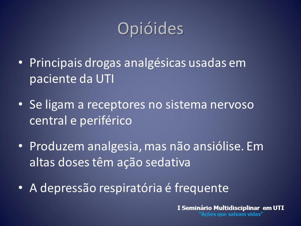 Opióides • Principais drogas analgésicas usadas em paciente da UTI • Se ligam a receptores no sistema nervoso central e periférico • Produzem analgesi