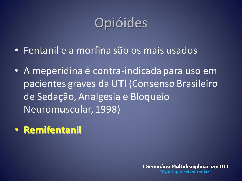 Opióides • Fentanil e a morfina são os mais usados • A meperidina é contra-indicada para uso em pacientes graves da UTI (Consenso Brasileiro de Sedaçã