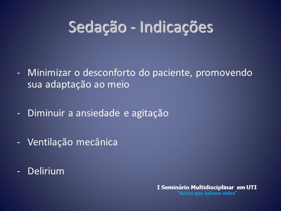 Sedação - Indicações -Minimizar o desconforto do paciente, promovendo sua adaptação ao meio -Diminuir a ansiedade e agitação -Ventilação mecânica -Del