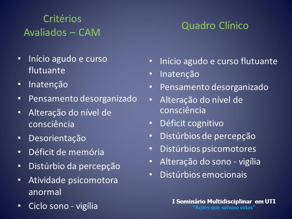 Critérios Avaliados – CAM • Início agudo e curso flutuante • Inatenção • Pensamento desorganizado • Alteração do nível de consciência • Desorientação