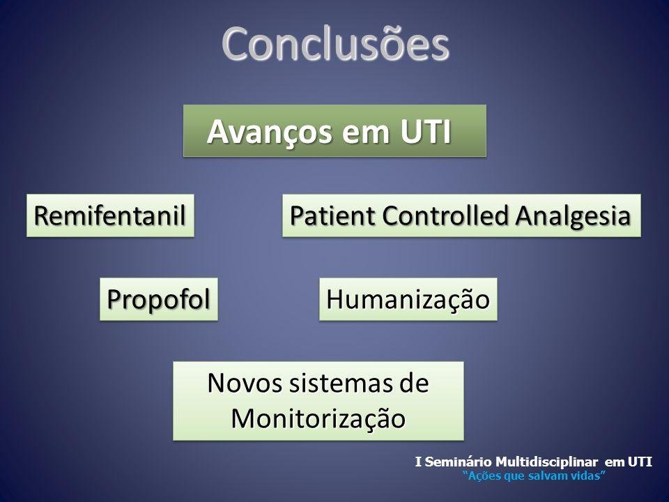 Conclusões Avanços em UTI Avanços em UTI HumanizaçãoHumanização RemifentanilRemifentanil Patient Controlled Analgesia Novos sistemas de Monitorização