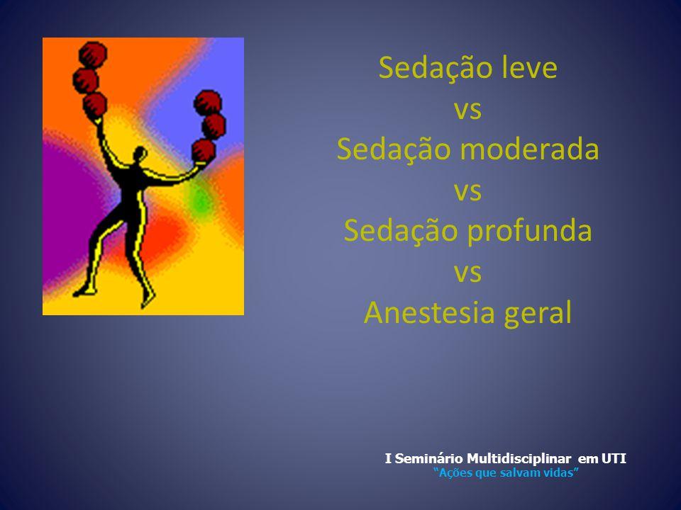 """Sedação leve vs Sedação moderada vs Sedação profunda vs Anestesia geral I Seminário Multidisciplinar em UTI """"Ações que salvam vidas"""""""