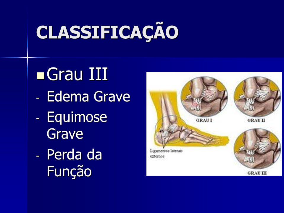 CLASSIFICAÇÃO  Grau III - Edema Grave - Equimose Grave - Perda da Função