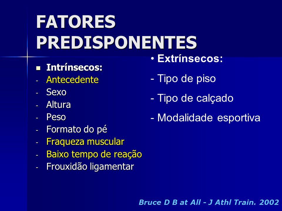 FATORES PREDISPONENTES  Intrínsecos: - Antecedente - Sexo - Altura - Peso - Formato do pé - Fraqueza muscular - Baixo tempo de reação - Frouxidão lig