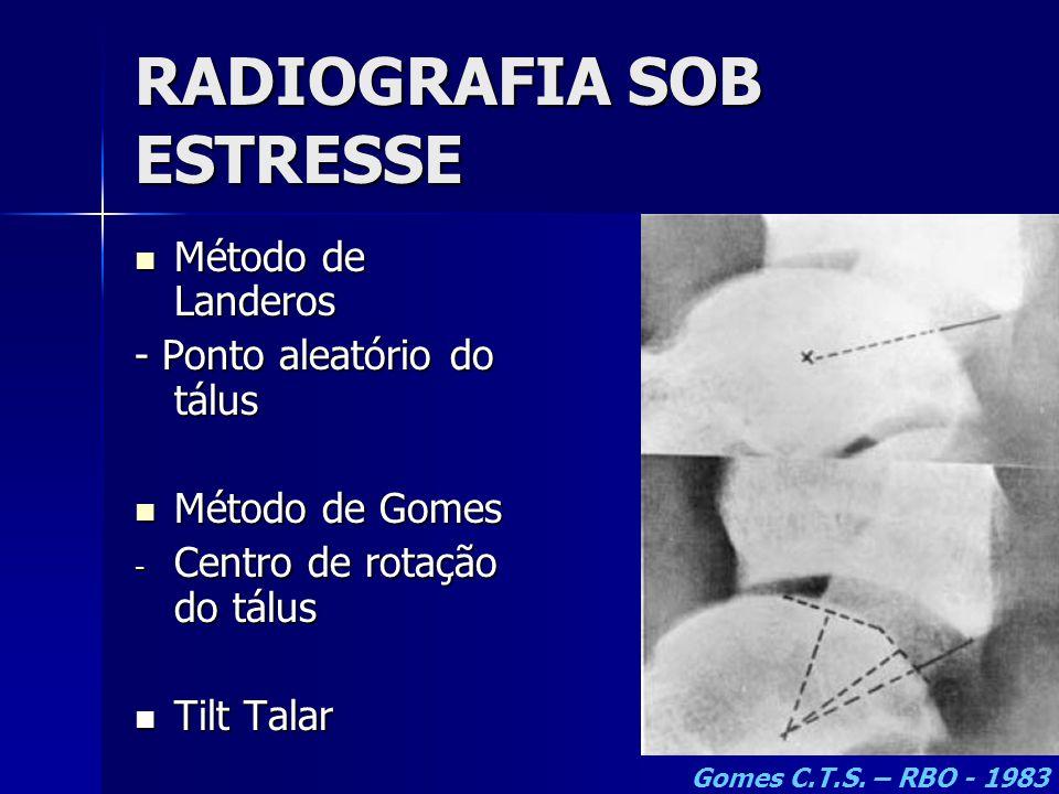 RADIOGRAFIA SOB ESTRESSE  Método de Landeros - Ponto aleatório do tálus  Método de Gomes - Centro de rotação do tálus  Tilt Talar Gomes C.T.S. – RB