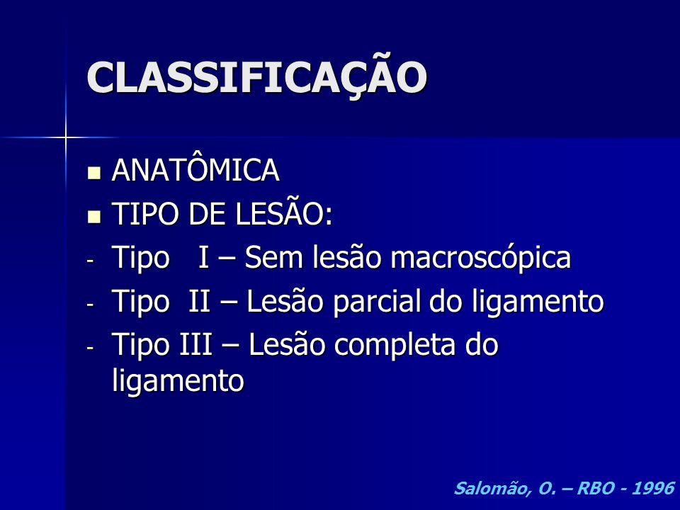 CLASSIFICAÇÃO  ANATÔMICA  TIPO DE LESÃO: - Tipo I – Sem lesão macroscópica - Tipo II – Lesão parcial do ligamento - Tipo III – Lesão completa do lig