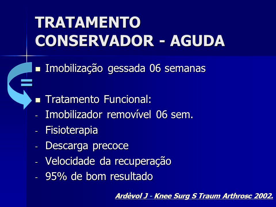 TRATAMENTO CONSERVADOR - AGUDA  Imobilização gessada 06 semanas  Tratamento Funcional: - Imobilizador removível 06 sem. - Fisioterapia - Descarga pr