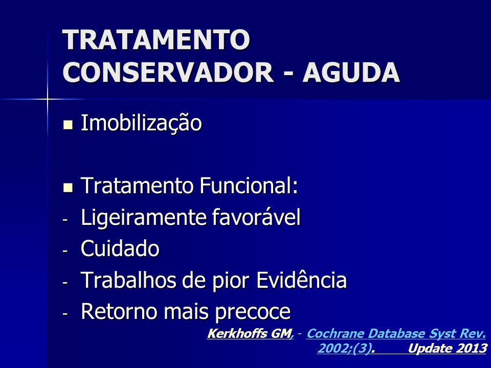 TRATAMENTO CONSERVADOR - AGUDA  Imobilização  Tratamento Funcional: - Ligeiramente favorável - Cuidado - Trabalhos de pior Evidência - Retorno mais