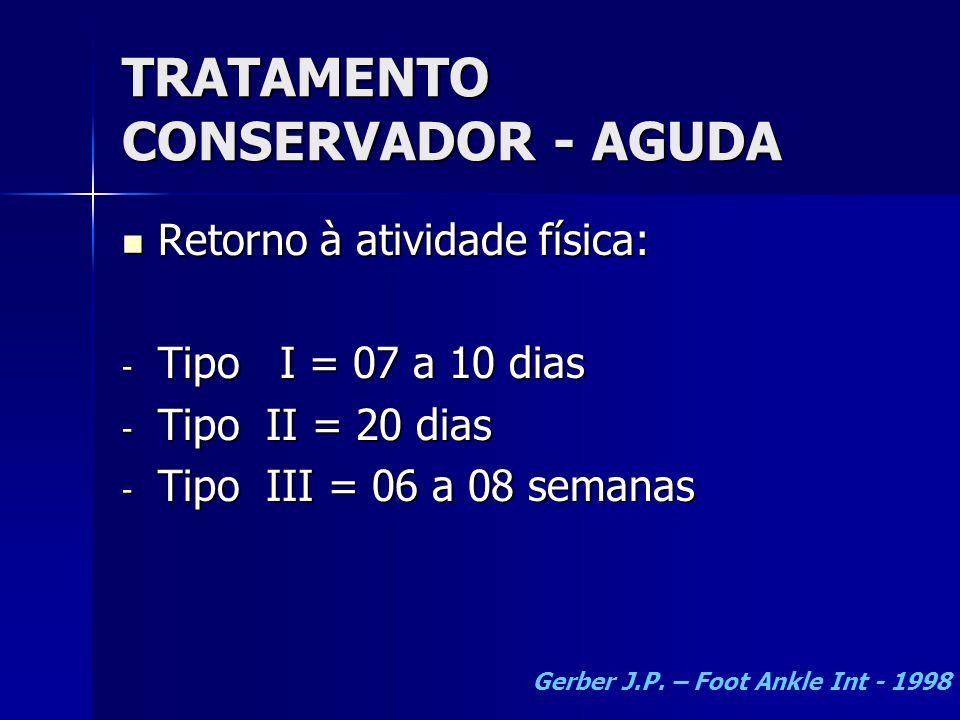 TRATAMENTO CONSERVADOR - AGUDA  Retorno à atividade física: - Tipo I = 07 a 10 dias - Tipo II = 20 dias - Tipo III = 06 a 08 semanas Gerber J.P.