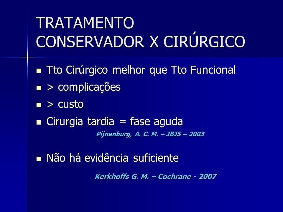 TRATAMENTO CONSERVADOR X CIRÚRGICO  Tto Cirúrgico melhor que Tto Funcional  > complicações  > custo  Cirurgia tardia = fase aguda Pijnenburg, A. C