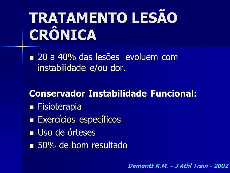 TRATAMENTO LESÃO CRÔNICA  20 a 40% das lesões evoluem com instabilidade e/ou dor. Conservador Instabilidade Funcional:  Fisioterapia  Exercícios es