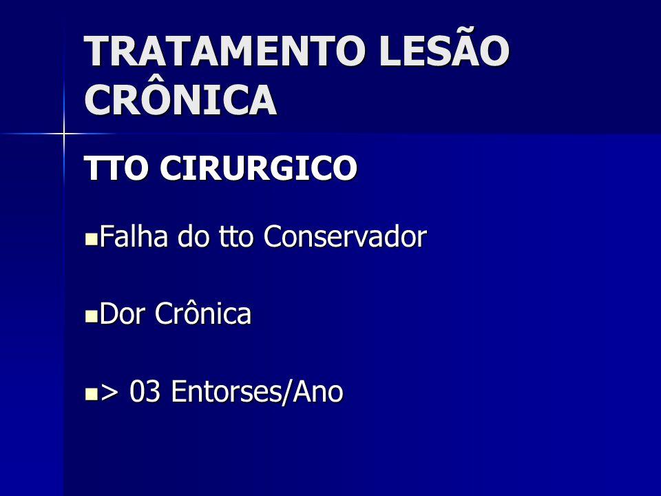 TRATAMENTO LESÃO CRÔNICA TTO CIRURGICO  Falha do tto Conservador  Dor Crônica  > 03 Entorses/Ano