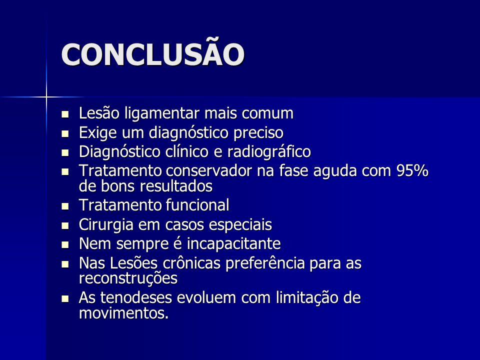 CONCLUSÃO  Lesão ligamentar mais comum  Exige um diagnóstico preciso  Diagnóstico clínico e radiográfico  Tratamento conservador na fase aguda com